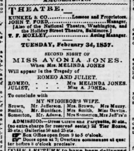 "Advertisement for production of ""Romeo and Juliet"" starring Avonia and Melinda Jones"