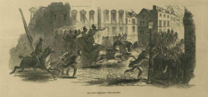 Firemen fight the blaze as the Olympic Theater burns in 1849