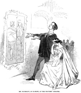 """Cartoon from Punch of the closet scene from """"Hamlet"""" 1845"""