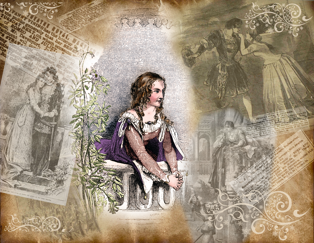 """Anna Cora Mowatt and images of productions of """"Romeo and Juliet"""""""