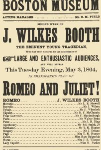 "Playbill for production of ""Romeo and Juliet"" starring John Wilkes Booth"
