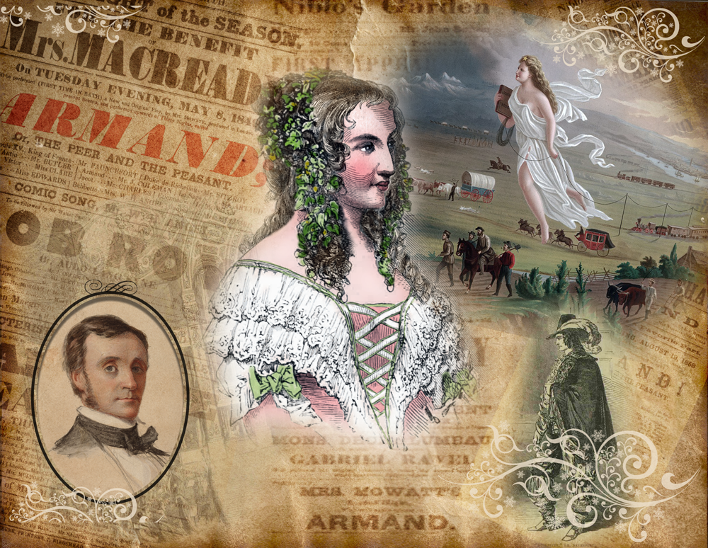 "Anna Cora Mowatt as Blanche surrounded by images from ""Armand"""