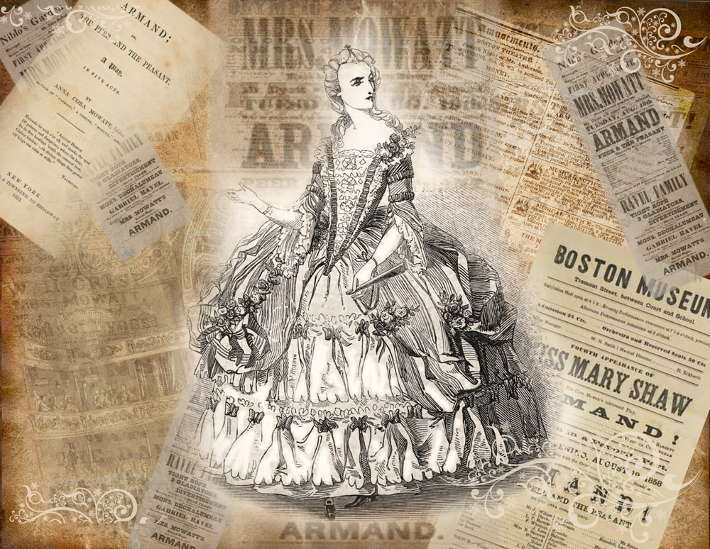 "Anna Cora Mowatt as Blanche and images of the play, ""Armand"""