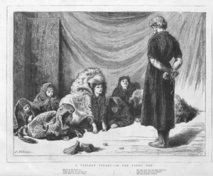 "Tableau Vivant in 1874 recreating Briton Riviere's 1872 ""Daniel in the Lion's Den"""