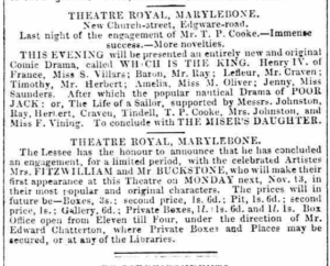 "Newspaper ad for ""Which is the King? 1848"