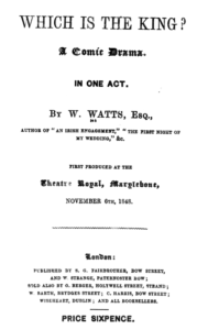 "Title page for ""Which is the King?"""
