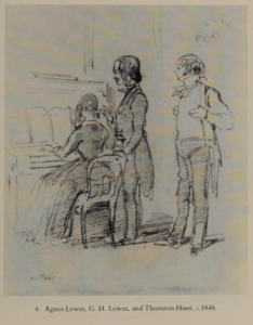Sketch of Lewes, his wife Agnes, and Thorton Hunt drawn by W. M. Thackery