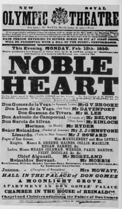 "Playbill for ""Noble Heart"" 1850"