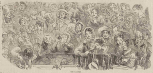 """Illustration of """"the Gallery Gods"""" from """"The Penny Illustrated Newspaper"""" 1862"""