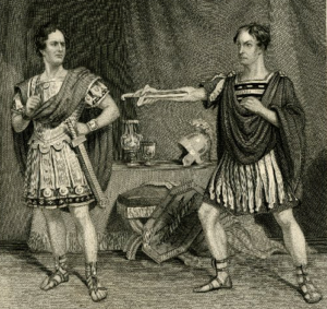 "E.L. Davenport as Brutus and William Macready as Cassius in ""Julius Caesar"" 1851"
