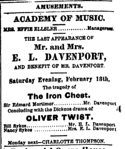 """Ad for performance of """"Oliver Twist"""" featuring E.L. Davenport as BIll Sykes"""