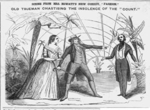 """Illustration of """"Fashion"""" from The Weekly Herald, 1845 featuring Miss Ellis, Chippendale, and William Crisp"""
