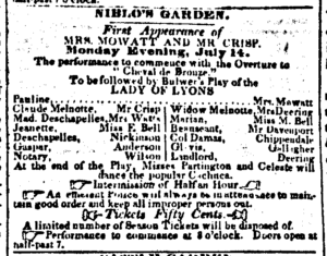 """Ad for """"Lady of Lyons"""" New York Herald, 1845"""