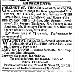 """Newspaper ad for """"Lady of Lyon"""" 1845"""
