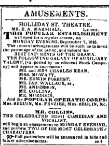 1846 ad listing Ludlow and Smith's touring stars