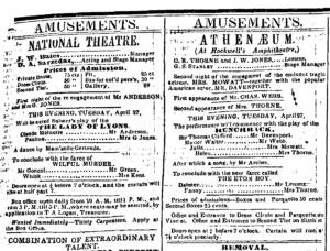 """Newspaper ad for competing production of """"Lady of Lyons"""""""