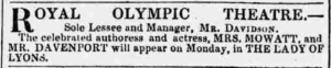 """Advertisement for """"Lady of Lyons"""" at the Olympic, 1848"""