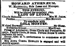 """Ad for """"Lady of Lyons"""""""