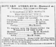 """Ad for """"Lady of Lyons"""" Boston, 1852"""