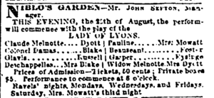 """Advertisement for performance of """"Lady of Lyons"""" at Niblo's Garden"""