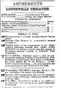 Ad for Mowatt's appearance at the Louisville Theatre, 1854