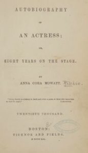 """Title page of """"Autobiography of an Actress"""""""